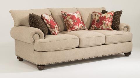 Image of Fabric Sofa with Nailhead Trim