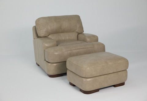 Image of Jillian Leather Chair and Ottoman