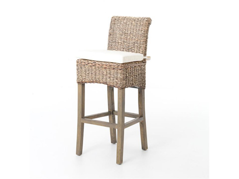 Image of Banana Leaf Barstool with Grey Wash Cushion