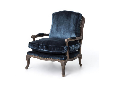 Image of Cut Blue Pile Boutique Accent Chair