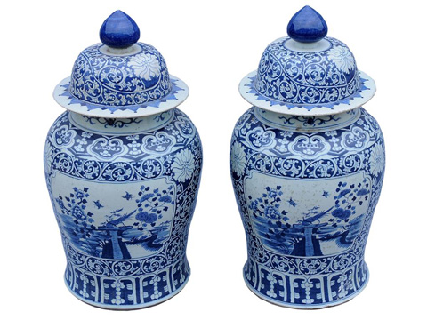 Image of Blue and White Lidded Vase Pair