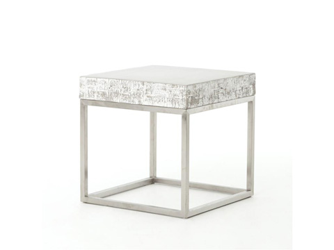 Image of Concrete And Chrome End Table