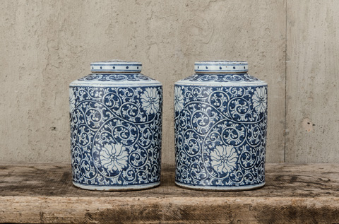 Image of Pair of Blue and White Lidded Tea Containers