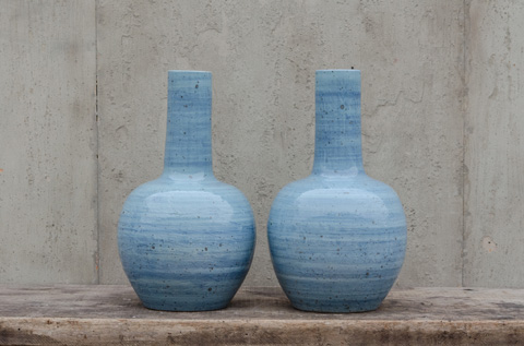 Image of Pair of Blue Long Neck Vases