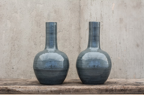 Image of Pair of Grey Long Neck Vases