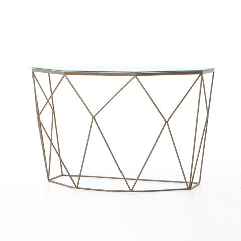 Image of Geometric Console Table in Antique Brass