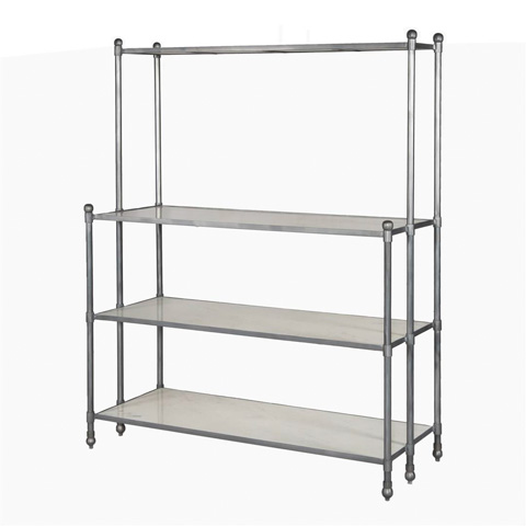 Image of Open Shelving in Polished White Marble