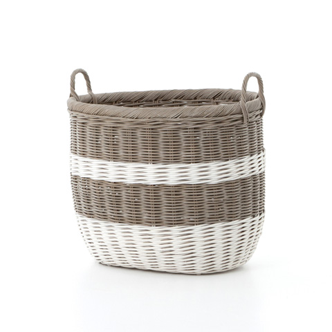 Image of Vintage Grey and White Striped Basket