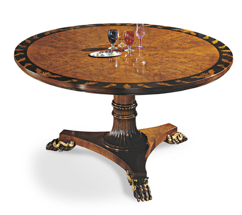 Image of Round Dining Table with Inlaid Top