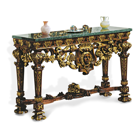 Image of Carved Console Table with Marble Top
