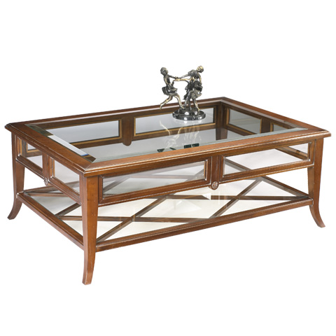 French Heritage - Dome Rectangular Coffee Table with Glass - A-2340-401-ANT