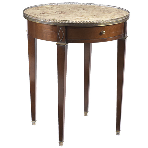 French Heritage - Villiers Round Side Table with Marble Top - A-2442-401-ANTM