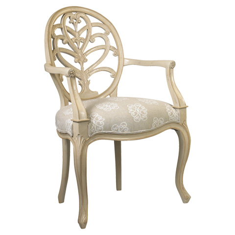 French Heritage - Briance Oval Back Arm Chair - M-1527-203-IVO