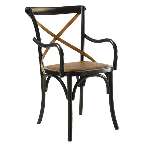 French Heritage - Bosquet Black X-Back Arm Chair - M-2427-1001-BLK