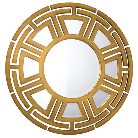 French Heritage - Sahara Round Patterned Mirror - M-8704-215-YEL