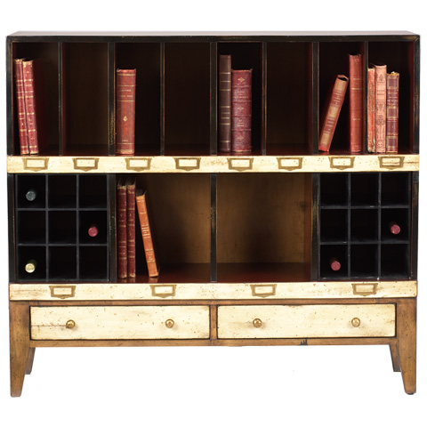 French Heritage - Cubby Storage Unit with Wine Racks - M-FL49-082E-BEI