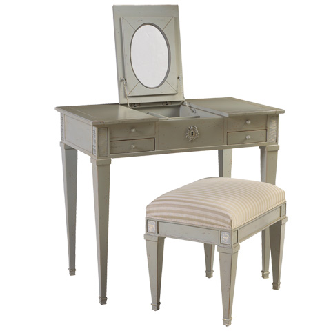 French Heritage - Aubin Vanity and Stool in Gray - M-1546-401-GRY