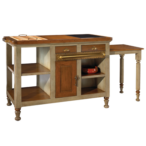 French Heritage - Gourmet Kitchen Island in Grey - M-FL39-199-GRY