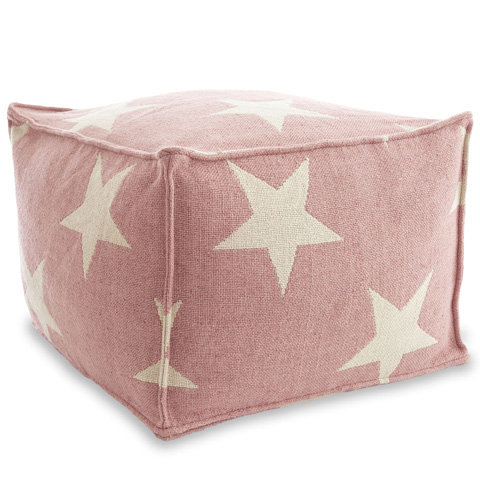 Image of Star Pink and Ivory Indoor/Outdoor Pouf