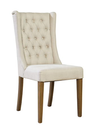 Image of Tufted Linen Side Chair