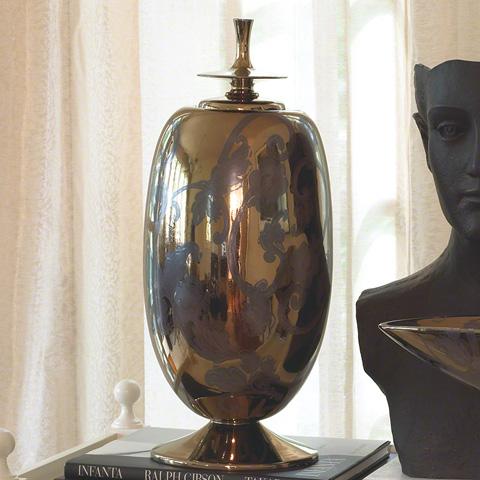 Global Views - Bronze Damask Egg with Lid - 1551