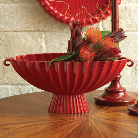 Global Views - Red Fluted Oval Compote - 1661
