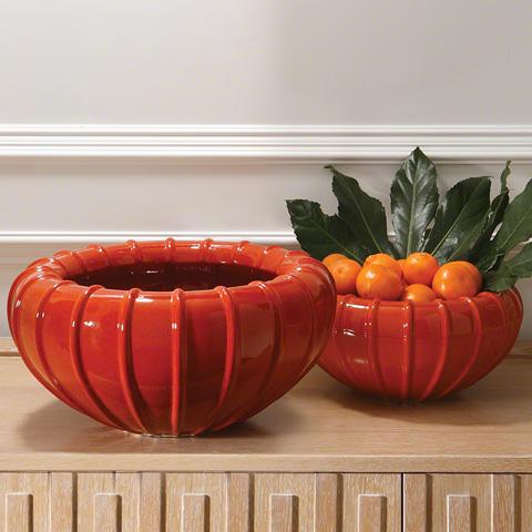 Global Views - Large Orange Melon Bowl - 1800