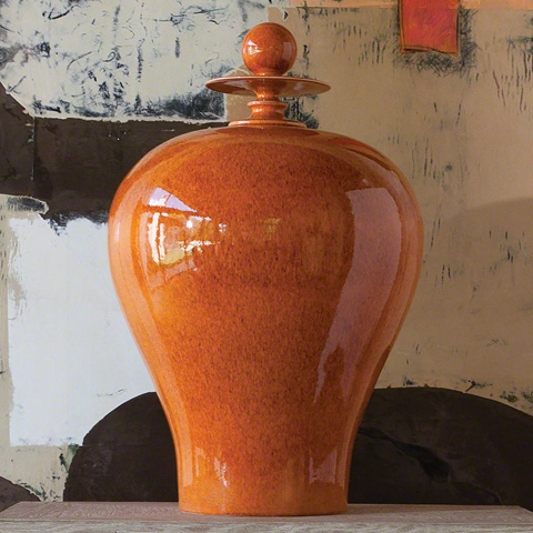 Global Views - Tall Orange Happy Temple Jar - 1876
