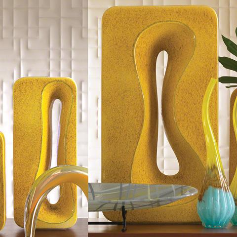 Global Views - Large Yellow Rectangular Amoeba Vase - 1907