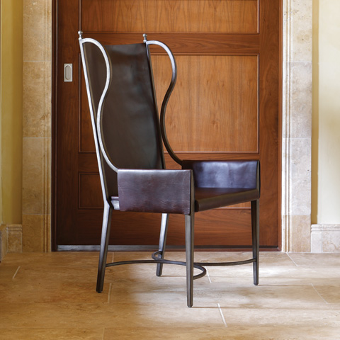Global Views - Iron and Leather Wing Chair - 2.70054
