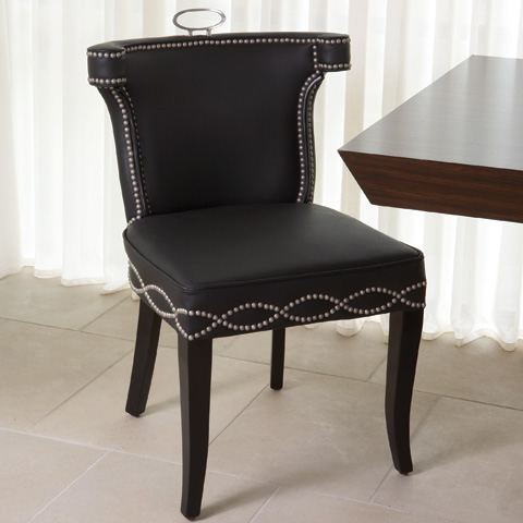 Global Views - Black Leather Casino Chair - 2264
