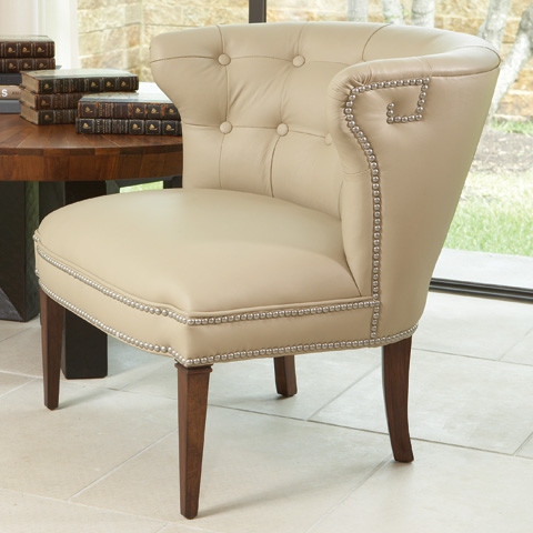 Global Views - Beige Greek Key Klismos Chair - 2315
