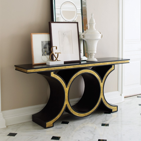 Global Views - Black Gold Leaf Link Console - 2454