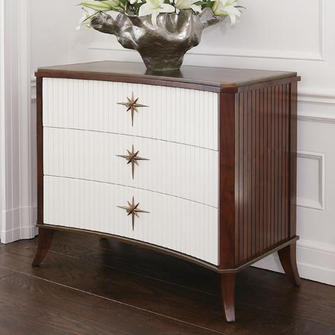 Global Views - Walnut White Door Klismos 3 Drawer Cabinet - 2458