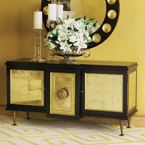Global Views - Black Gold Leaf Marcel Cabinet - 2463