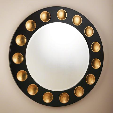 Global Views - Black Gold Leaf Domino Round Mirror - 2466