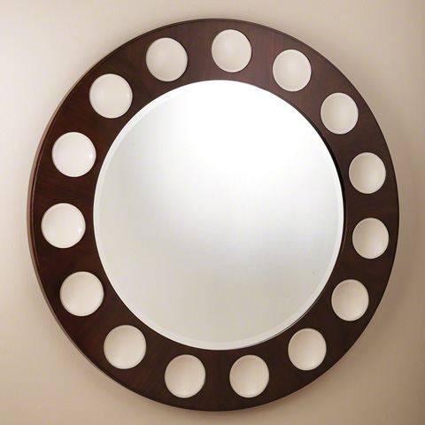 Global Views - Walnut Ivory Domino Round Mirror - 2472