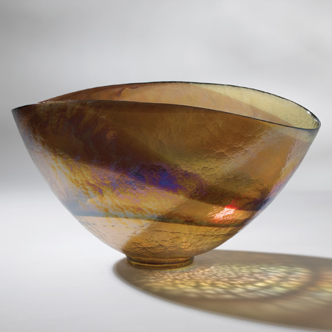 Global Views - Large Golden Iridescent Oval Bowl - 3.30719
