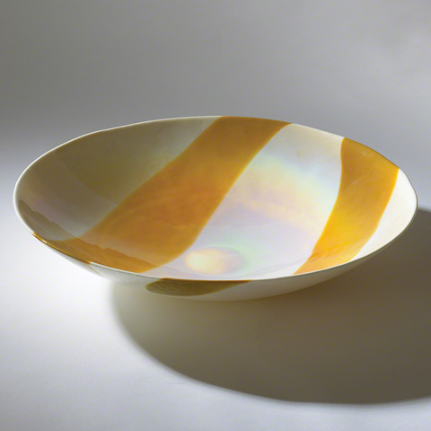 Global Views - Double Yellow Stripe Centerpiece Bowl - 3.30777
