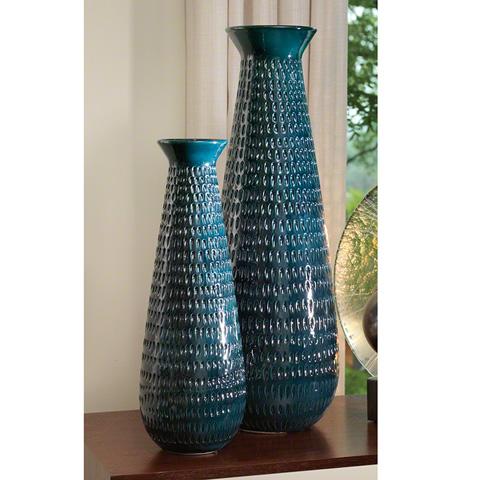 Global Views - Large Cobalt Tall Graffiti Vase - 3.31092