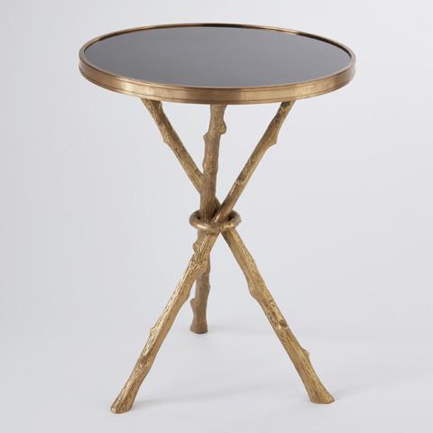 Global Views - Brass & Black Granite Twig Table - 8.80006