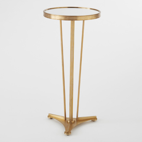 Global Views - Antique Brass & Mirror French Moderne Side Table - 8.80509
