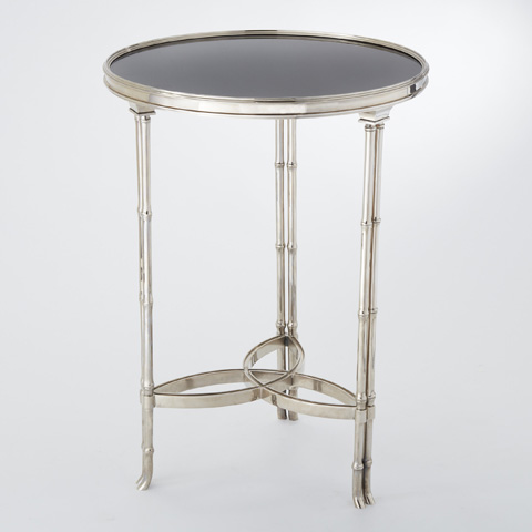 Global Views - Nickel & Black Granite Bamboo Leg Accent Table - 8.80598