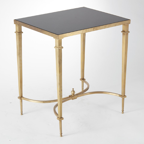 Global Views - Brass & Black Granite Rectangular French Table - 8.80605
