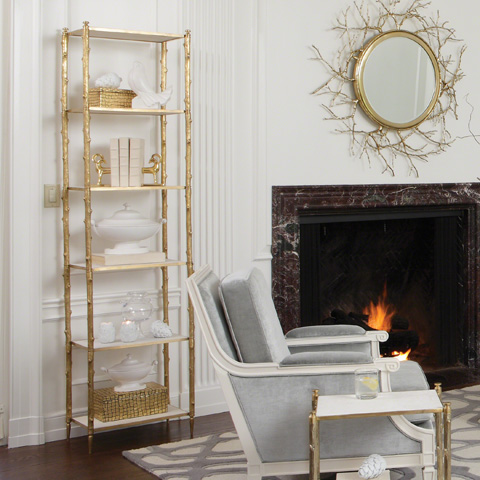Global Views - Brass & White Marble Arbor Etagere - 8.82035