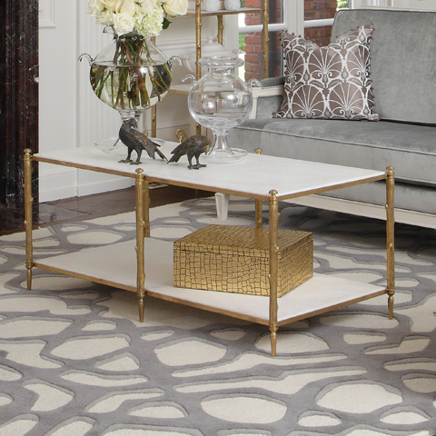 Global Views - Brass & White Marble Arbor Cocktail Table - 8.82036