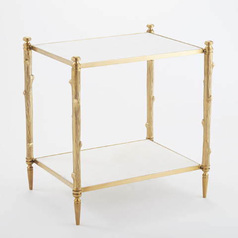 Global Views - Brass & White Marble Arbor Side Table - 8.82037