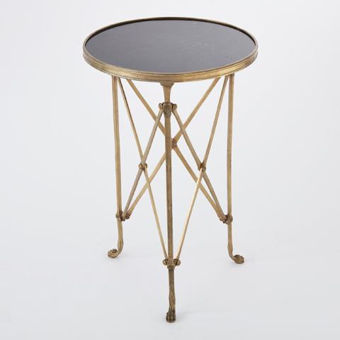 Global Views - Brass & Black Granite Directoire Table - 8497