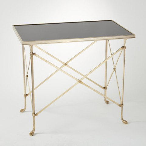 Global Views - Brass & Black Granite Rectangle Directoire Table - 8733