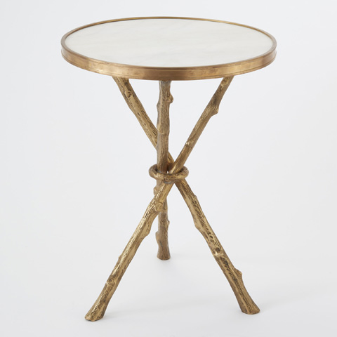 Global Views - Brass & White Marble Twig Table - 8976